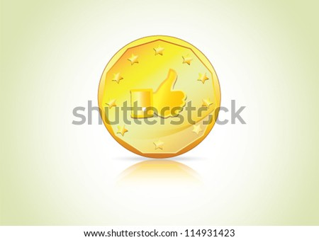 Thumbs up, Like Symbol on a gold coin � A concept depicting economy, currency of Social Network.