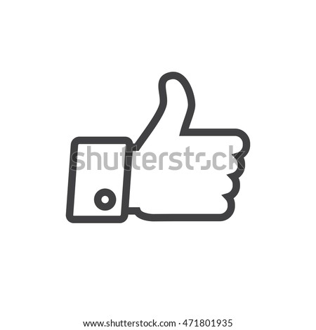 Thumbs up line icon isolated on a white background