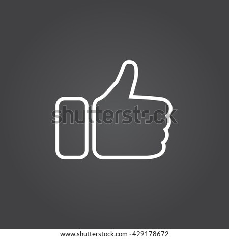 thumbs up line icon, like outline vector logo illustration, linear pictogram isolated on black