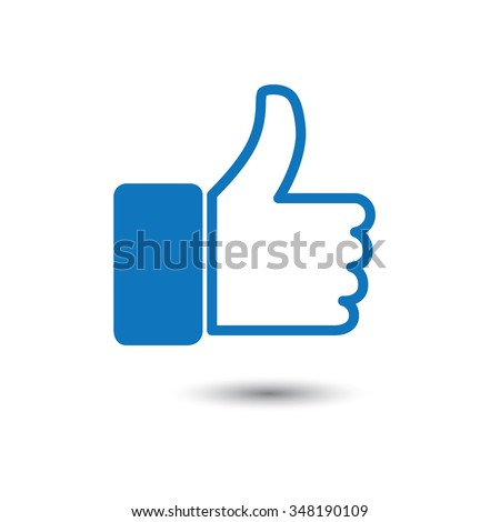 thumbs up or like hand vector icon for social media websites and mobile apps