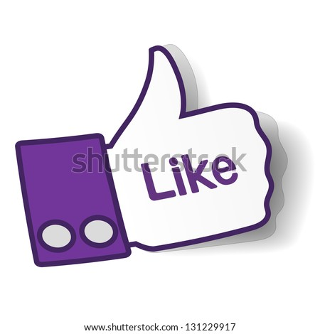 Thumbs up paper sticker used in a social networks like facebooke. Vector eps10 illustration