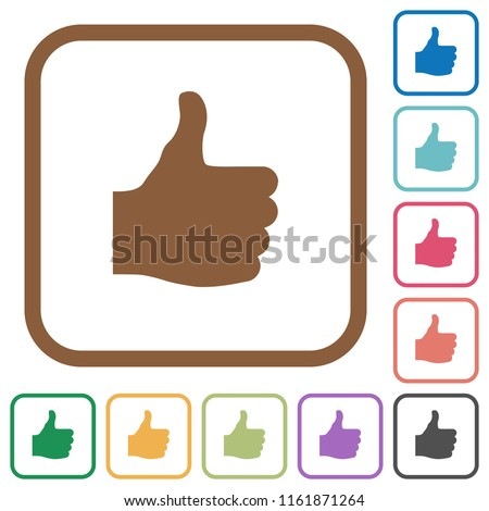 Thumbs up simple icons in color rounded square frames on white background