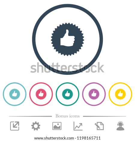 Thumbs up sticker flat color icons in round outlines. 6 bonus icons included.
