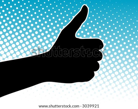 Thumbs Up Success Hand Sign over halftone background (Vector) - stock vector