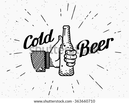 Thumbs up symbol icon with cold beer bottle like gesture. Retro beer bottle drinks for friends with handwritten lettering for logo on grunge background. Cold alcohol beer party  vector illustration