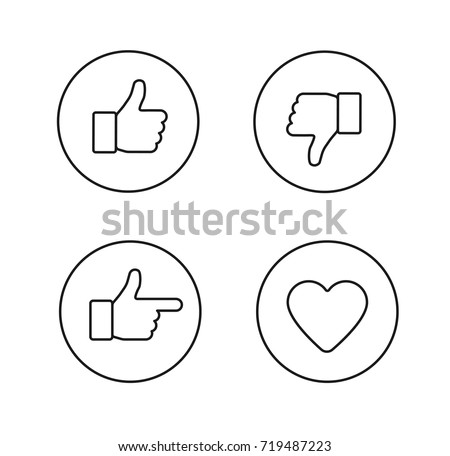Thumbs up thin line icons set. Outline style circle vector icons isolated on white background