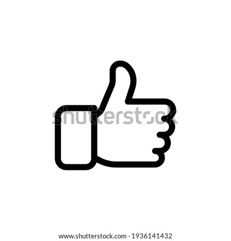 thumbs up vector icon, like symbol. Like hand line icon. Thumbs up finger sign. Vector. illustration symbol. like sign, line icon
