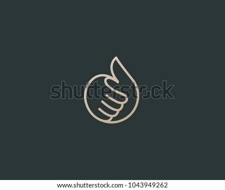 Thumbs up vector logotype. Linear like logo design.