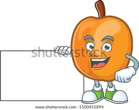 Thumbs up with board apricot cartoon character for nutritious maskot