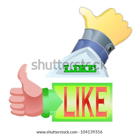 "thumbs up with text ""like"" isolated on white color"