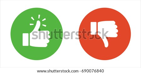 Thump Up and Thump Down Hands  vector sign in flat style
