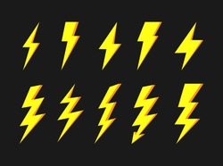 Thunder and bolt flat icon set. Flash elements. Elestric blitz logo. Vector yellow thunderbolt on dark background