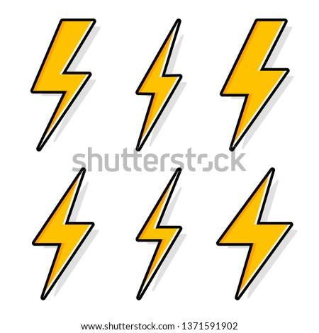 Thunder and Bolt Lighting Flash Icons Set. Flat Style on Dark Background. Vector