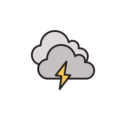 thunder cloud icon filled outline vector. isolated on white background