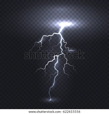 Thunder energy. Realistic electricity lightning flash bolt or thunderbolt isolated on transparent background. Vector electric light thunder spark or white power blast storm template for your design