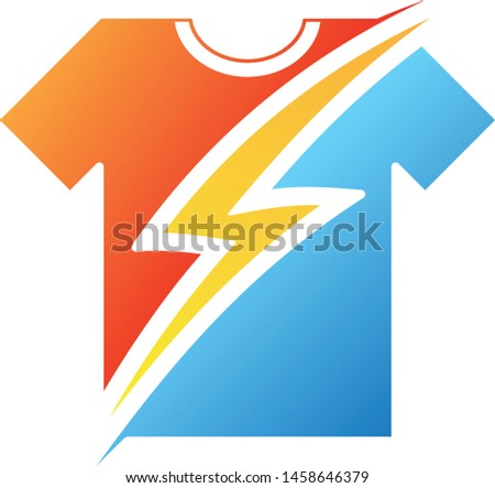 Thunder on t-shirt in flat style on the white background. Electric danger light power voltage flash thunder 3d icon design template element. Vector illustration EPS.8 EPS.10