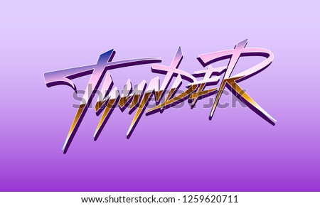 Thunder pink synthwave vaporwave neon vector logo. Retrofuturistic modern style hand written calligraphy signs. Geometric stylish poster print design elements. Illustration isolated on pink background