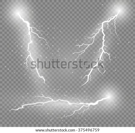 Thunder-storm and lightnings. Magic and bright lighting effects.