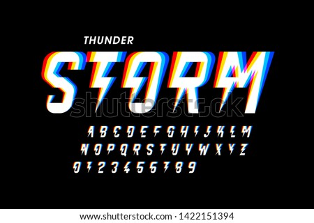 Thunder storm style font design, alphabet letters and numbers vector illustration