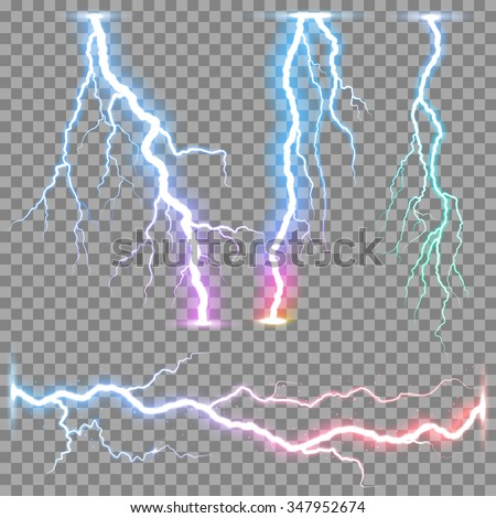 Thunder storm vector realistic lightnings thunderbolt on transparent background. Set of the isolated realistic bolt lightnings with transparency. Electricity lighting effects.