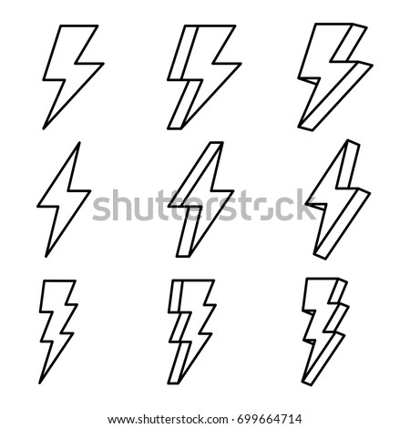 Thunder, thunder vector, thunder outline