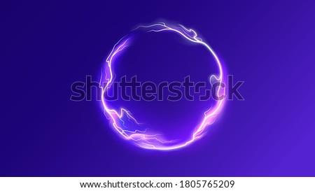 Thunderbolt electricity lightning power effect ball round shape vector background