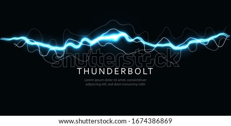 Thunderbolt, isolated lightning, electric current line, blue magic ray, abstract audio equalizer, digital signal amplitude, electric energy vector illustration