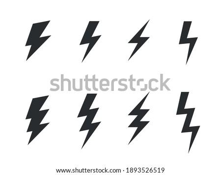 Thunderbolt signs on white background. Set of monochrome vector flash icons Stockfoto ©