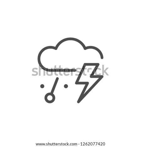 Thunderstorm and hail line icon
