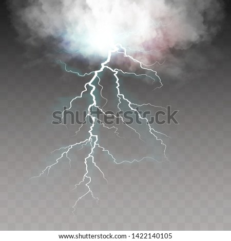Thunderstorm and lightning. Realistic lightnings with transparency. Magic and bright lighting effects. Effects vector EPS10
