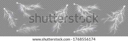 Thunderstorm and lightning, the effect of lightning and lighting, light and shine, set of zippers, symbol of natural strength or magic, abstract, electricity and explosion, vector illustration, eps 10