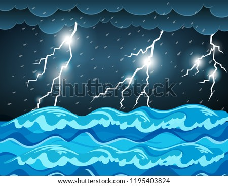 Thunderstorm at the sea  illustration