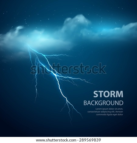 Thunderstorm Background With Cloud and Lightning, Vector Illustration. EPS 10
