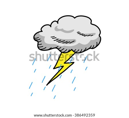 Thunderstorm Cloud, a hand drawn vector cartoon illustration of a cloud thunder with rain.