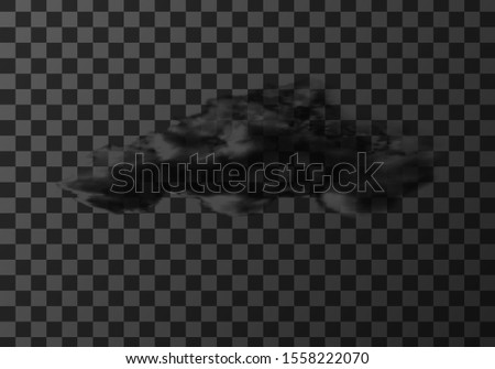 Thunderstorm cloud weather meteo icon realistic vector illustration. Realistic element for weather forecast, black storm cloud isolated on transparent background