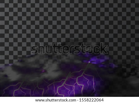 Thunderstorm cloud with lightning weather meteo icon realistic vector illustration. Realistic element for weather forecast, black cloud with glowing purple charge isolated on transparent background
