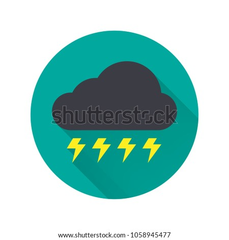 Thunderstorm icon. Cloudy with thunderstorm icon. Lightning icon. Weather forecast icon. Vector illustration