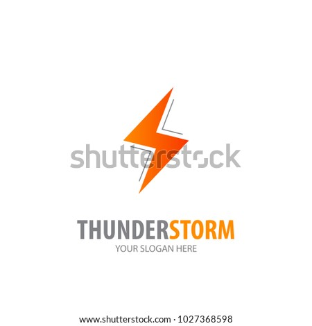 Thunderstorm logo for business company. Simple Thunderstorm logotype idea design. Corporate identity concept. Creative Thunderstorm icon from accessories collection.