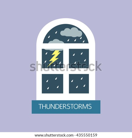 thunderstorms and window in