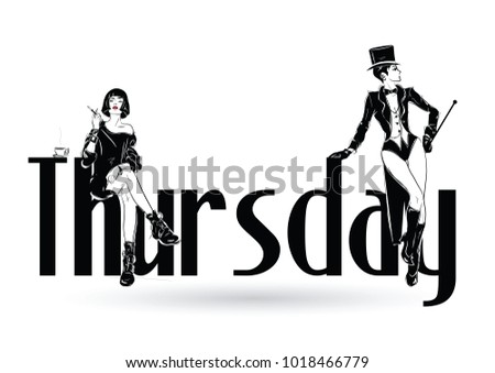Thursday with fashion girl in sketch style. Vector illustration