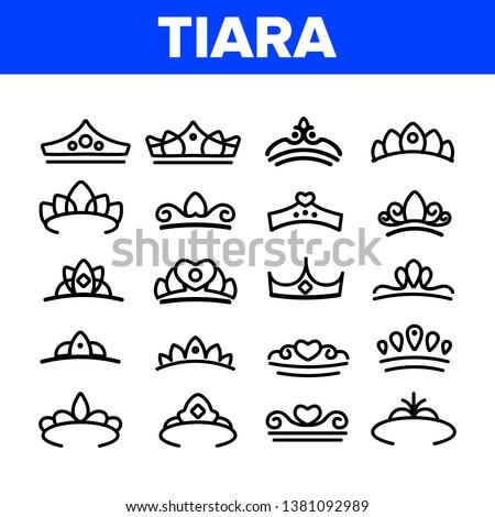 Tiara, Royal Accessory Vector Thin Line Icons Set. Tiara, Diadem Types Linear Illustrations. Queen Coronation, Princess, Nobility Headwear. Bridal Hair Decoration. Beauty Contest, Miss Award Сток-фото ©