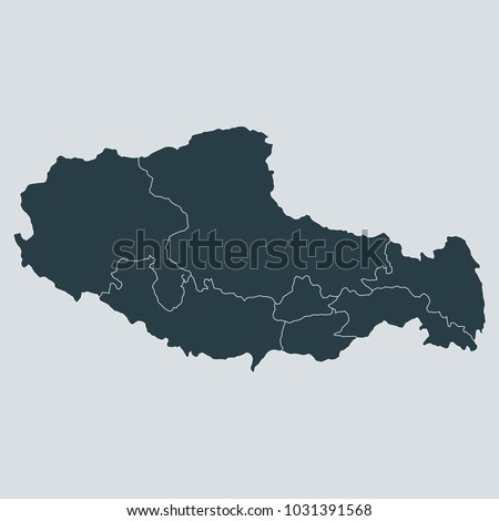 tibet map on gray background