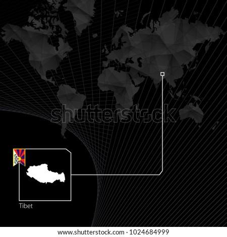 tibet on black world map map