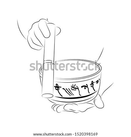 """Tibetan singing bowl, Mantra """"Om Mani Padme Hum"""""""