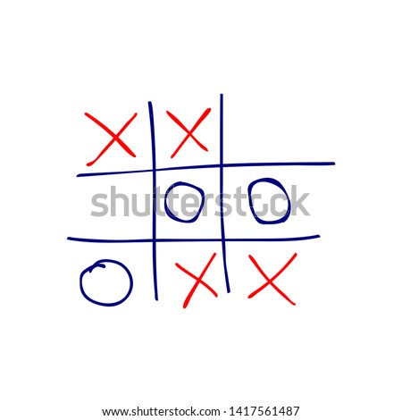 Tic tac toe game, hand-drawn vector icon Foto stock ©