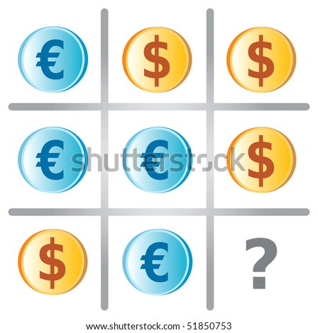 Tic Tac Toe Game Illustration with Dollars and Euros
