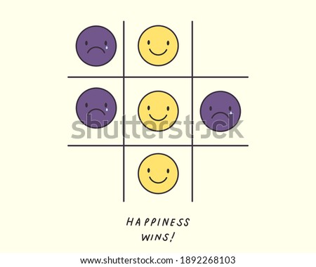 Tic tac toe game of emotion; happiness wins. Sad and happy emoticon. Choosing happiness. Positive, encourage symbol illustration. Healthy mental health. Flat vector style. Foto stock ©
