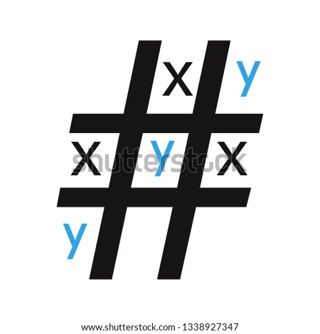 Tic tac toe game. The game cross and zero.Grid in the form of a hashtag. Modification of the game x and y.Won y.Vector illustration.