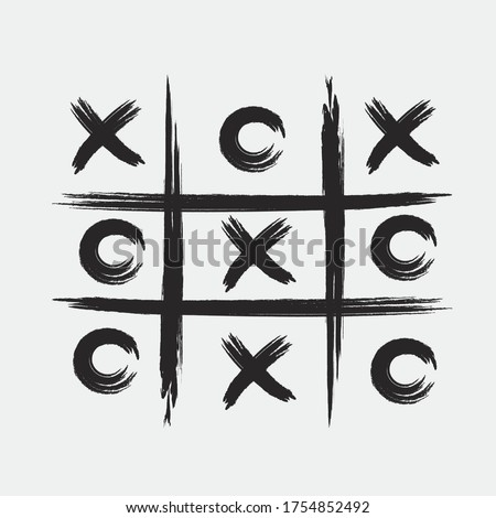 Tic tac toe game with black cross and circle sign mark grunge style art design. Foto stock ©