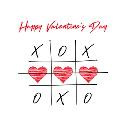 Tic tac toe game with criss cross and crossed out red heart sign mark XOXO. Hand drawn brush. Doodle line. Happy Valentines day card Flat design Isolated. White background. Vector illustration
